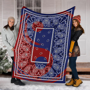 Blue and Red Ying Yang Bandana Fleece Throw Blanket
