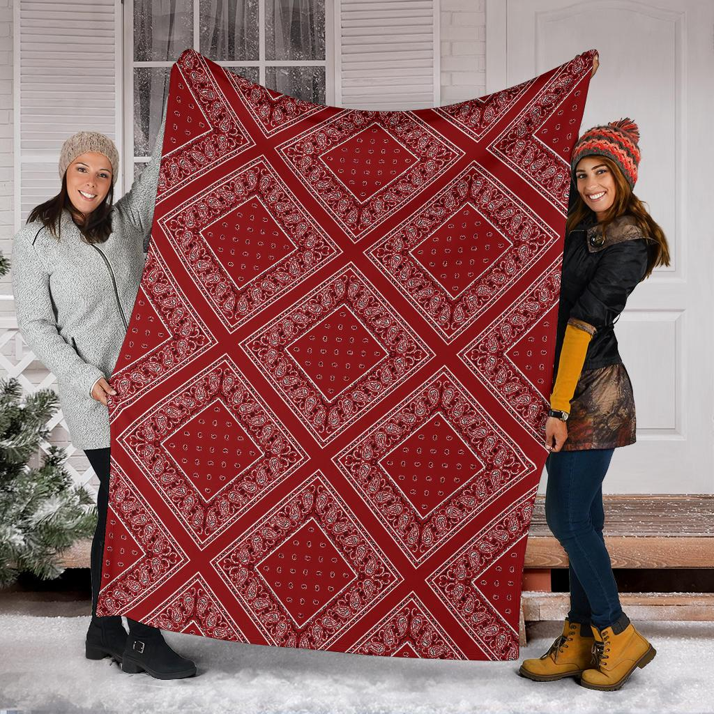 Classic Red Bandana Diamond Throw Blanket
