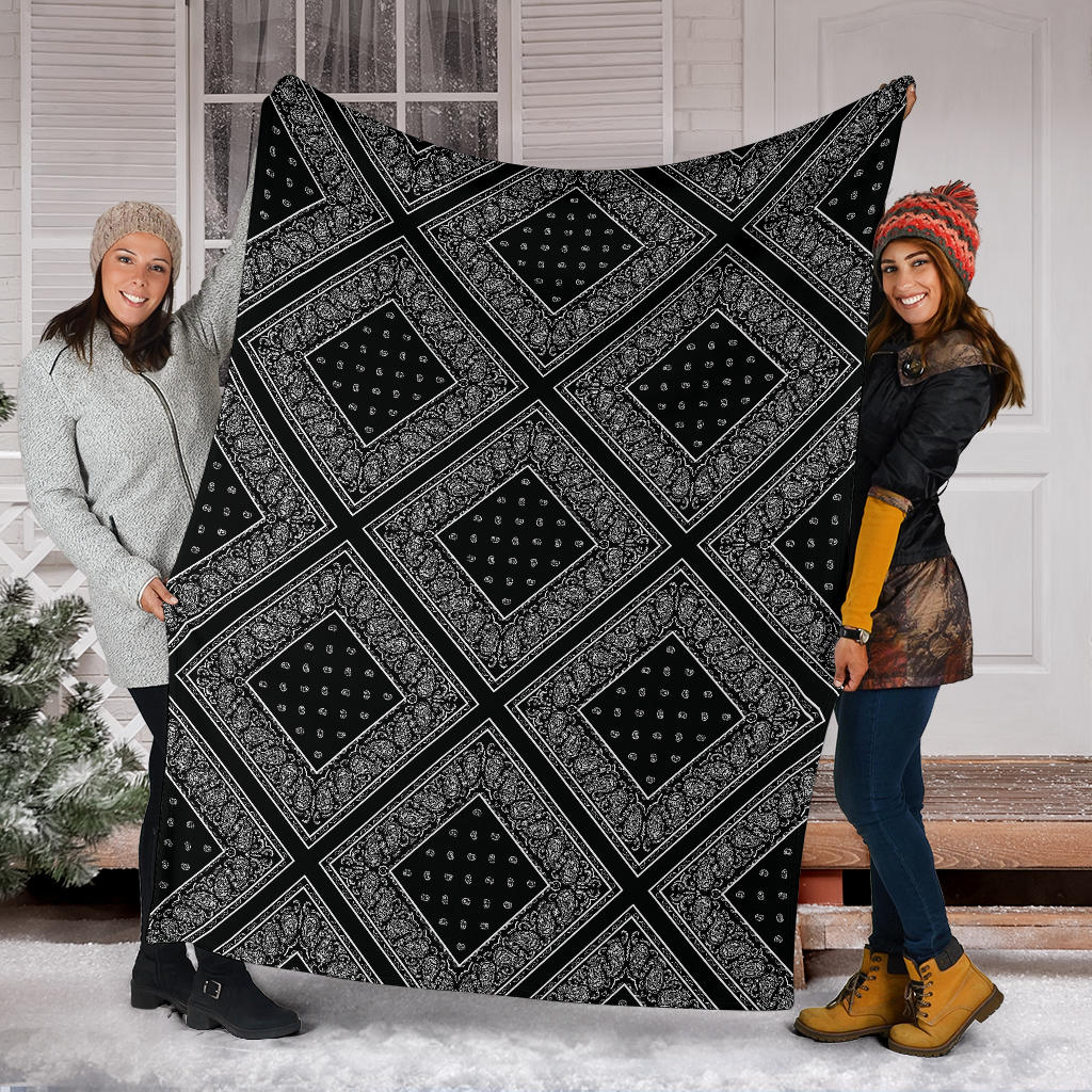 Black Bandana Diamond Throw Blanket