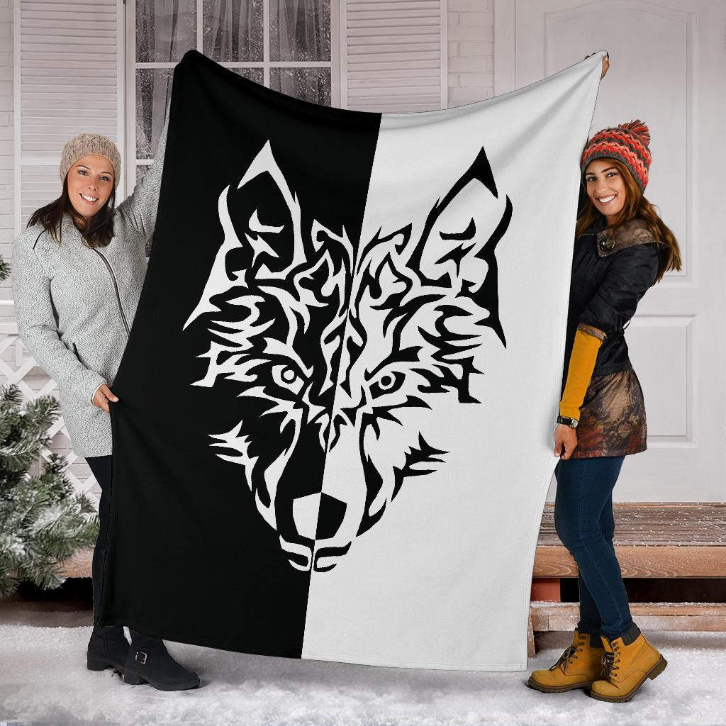 Wolf Tattoo Fleece Throw Blanket