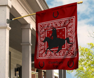 maroon cowboy up flag for patio
