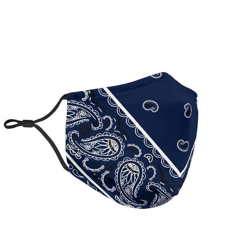 Adjustable Navy Blue Bandana Face Mask with 5 Layer Filters
