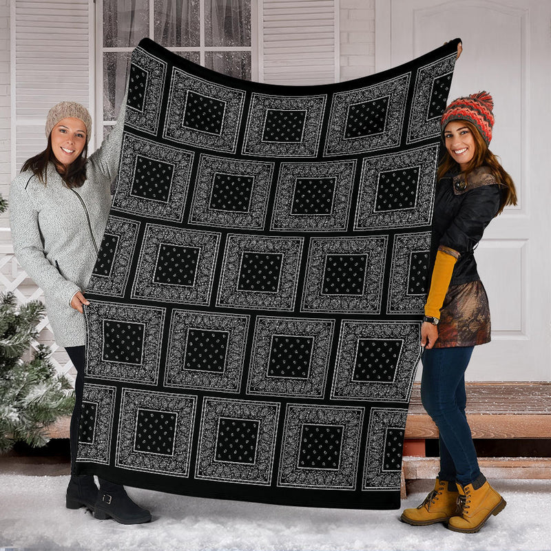 Black Bandana Patch Throw Blanket