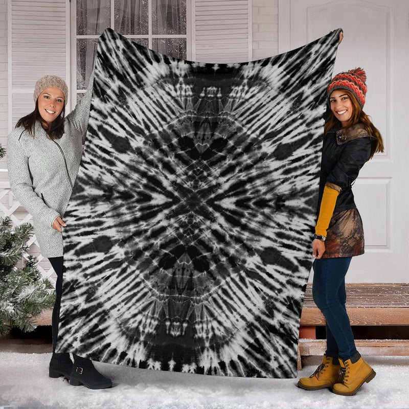 Black and White Tie Dye Fleece Throw