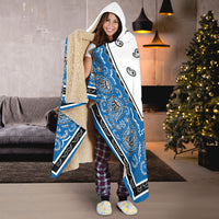 blue and white hooded sherpa blanket gift