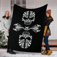 Skulls and Scorpions Tribal Fleece Throw Blankets