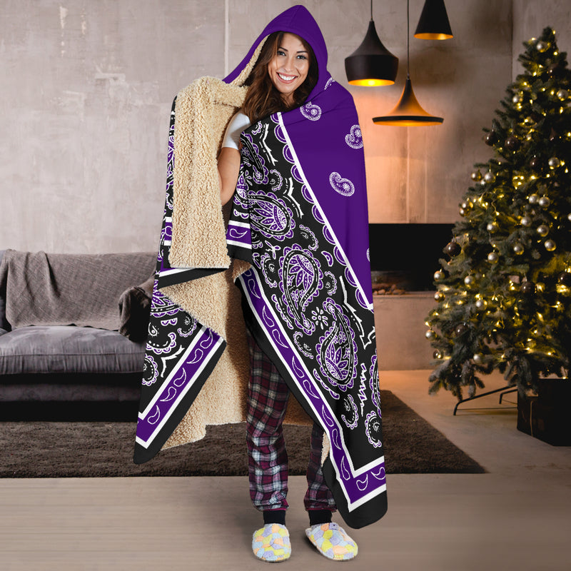 Purple and Black Hooded Blankets
