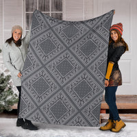 Gray Bandana Fleece Throw Blankets