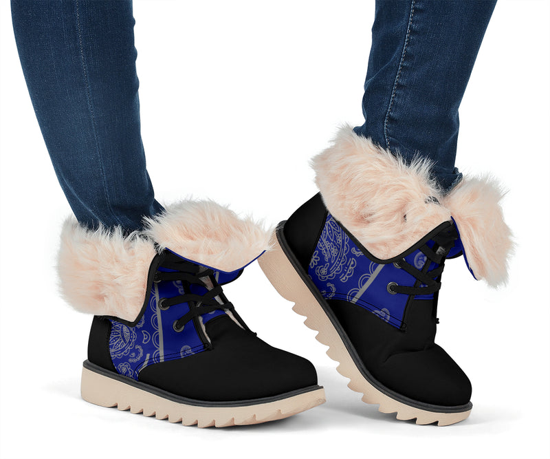 blue and gray bandana snow boots for women