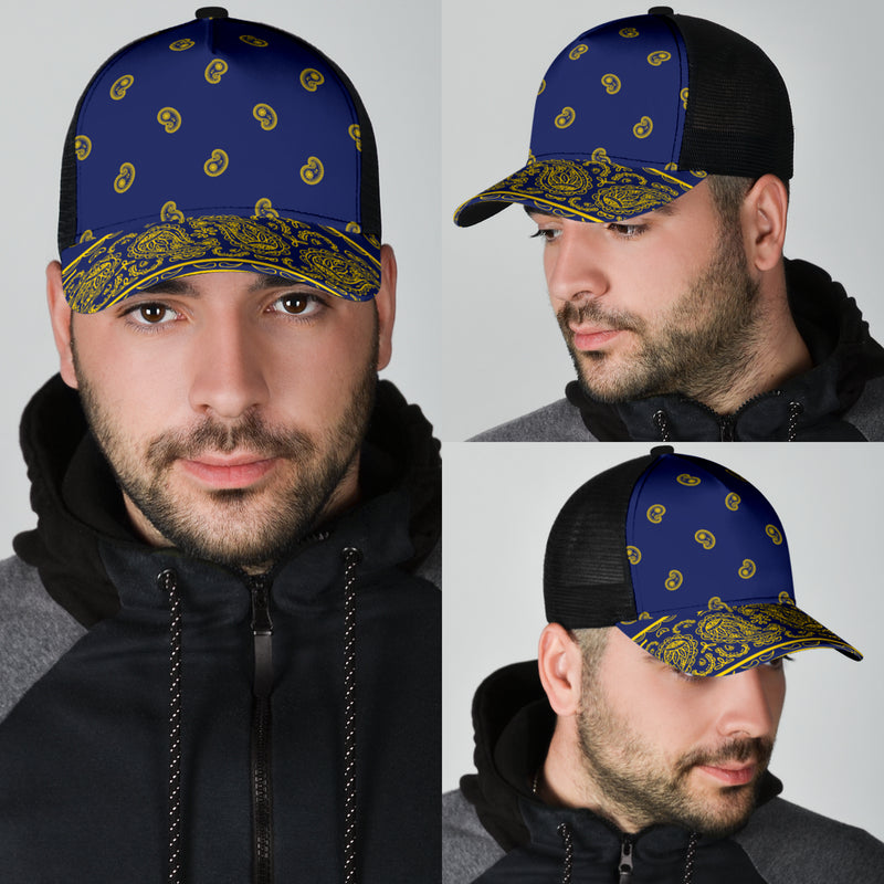 blue and gold bandana ball cap