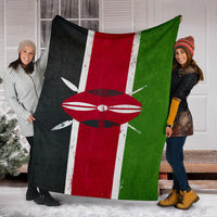 Kenya Flag Fleece Blanket
