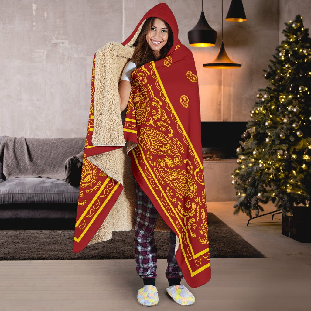 Ultimate Red and Gold Bandana Hooded Blanket