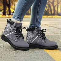 gray bandana hiking boots