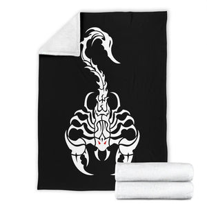 White Scorpion Tribal Fleece Throw Blanket