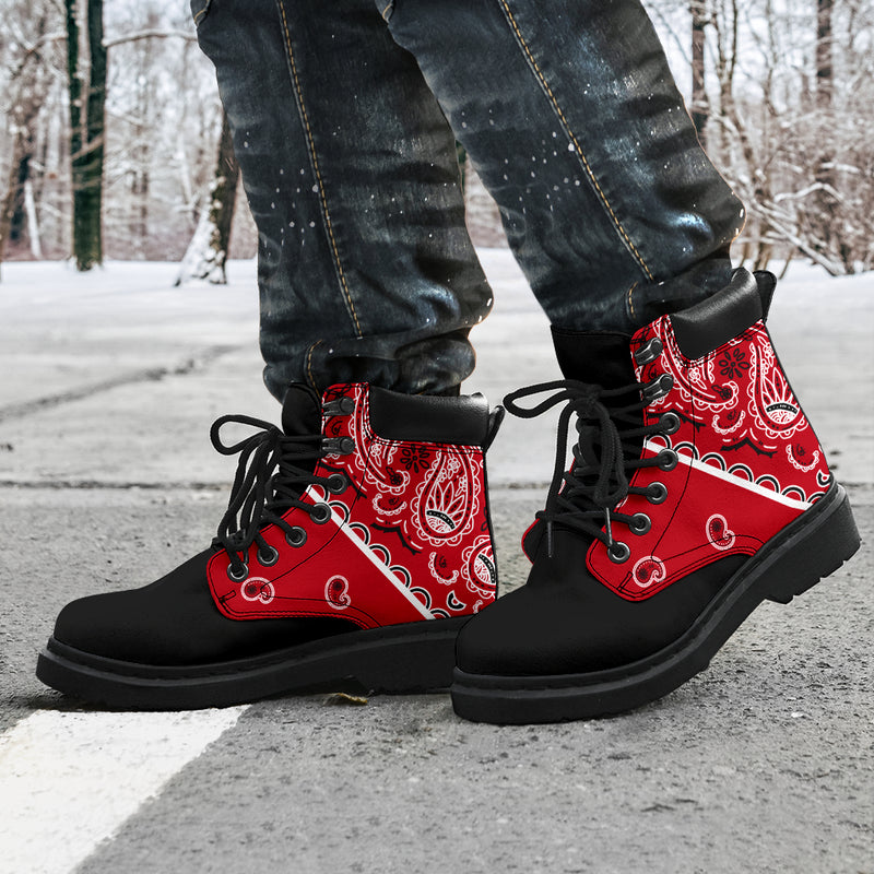 red and black bandana boots