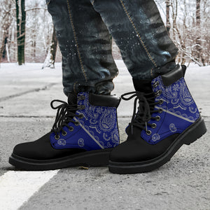 men's blue and gray bandana boots