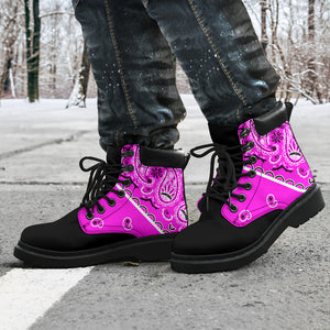 pink and black hiking boots