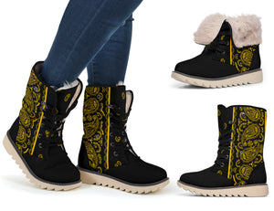 black and gold women's snow boots