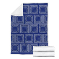 Ultra Plush Royal Blue Bandana Patch Throw Blanket
