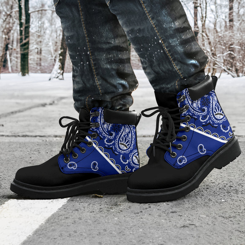 royal blue and black bandana boots
