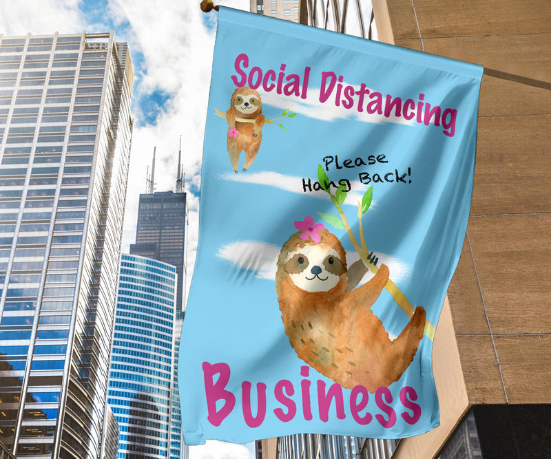 store signs for social distancing with sloths