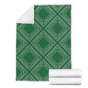 Ultra Plush Classic Green Bandana Diamond Throw Blanket