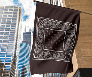 Coffee Brown Bandana Home and Garden Flags