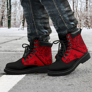 red and black bandana print boots