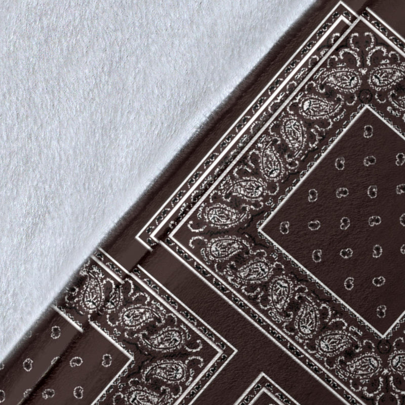Ultra Plush Coffee Brown Bandana Patch Throw Blanket