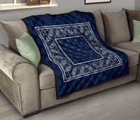 Navy Blue Bandana Throw Blankets