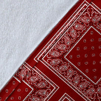 Maroon Red Bandana Throw Blanket Edge