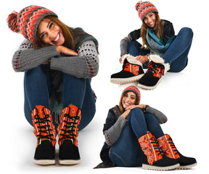 women's orange bandana snow boots