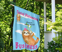 Funny Social Distancing Sloth Flag Sign for Businesses