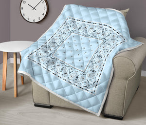 Light Blue Bandana Throw Blanket