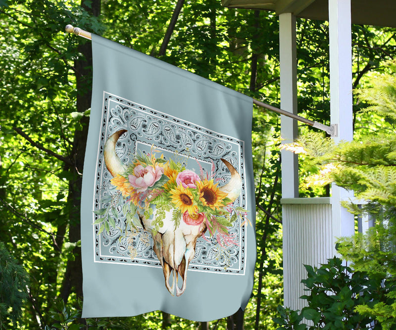 Blue Bandana Cow Skull Home and Garden Flags