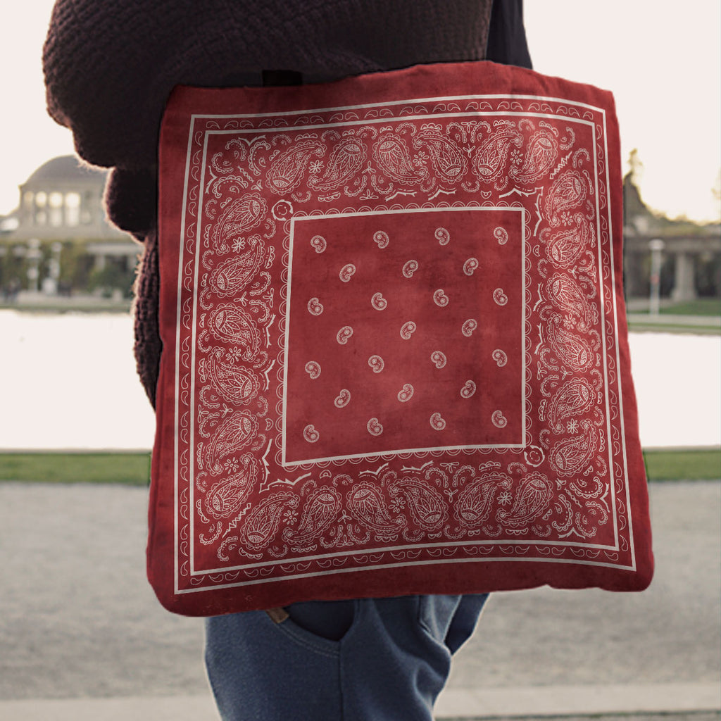 red Paisley Bandana Tote Bag