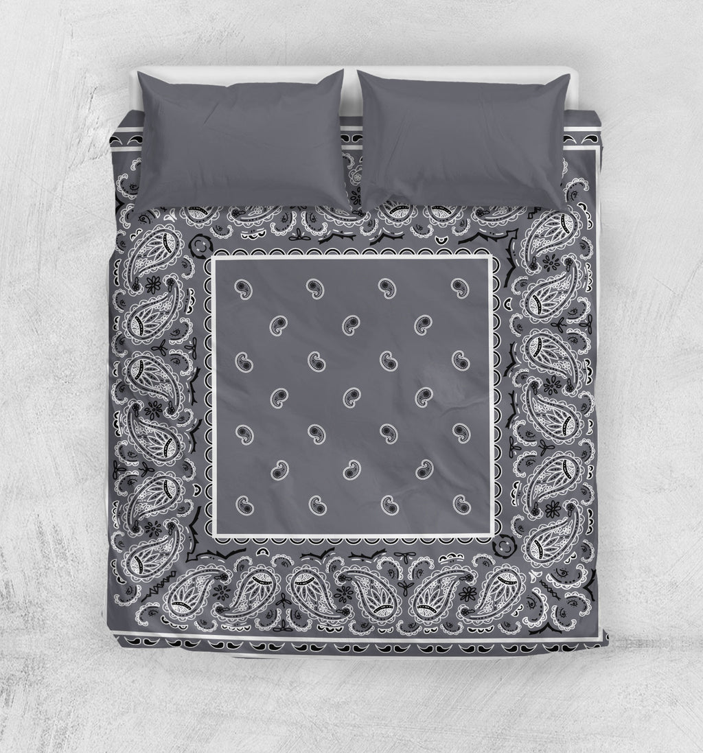 Gray Bandana Duvet Cover Sets