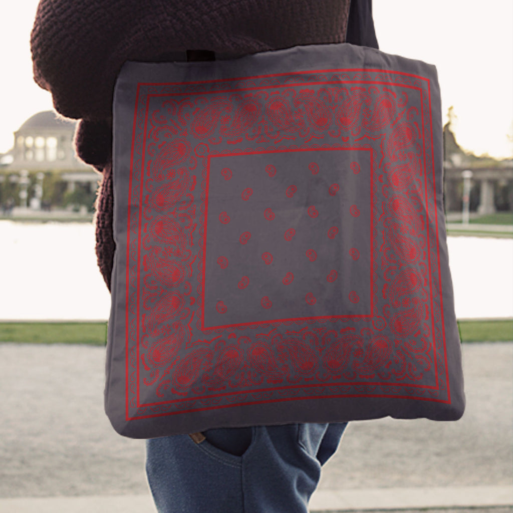 gray and red bandana tote bag