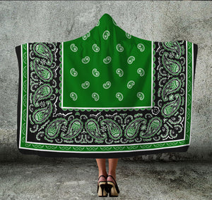 Green and Black Hooded Blanket