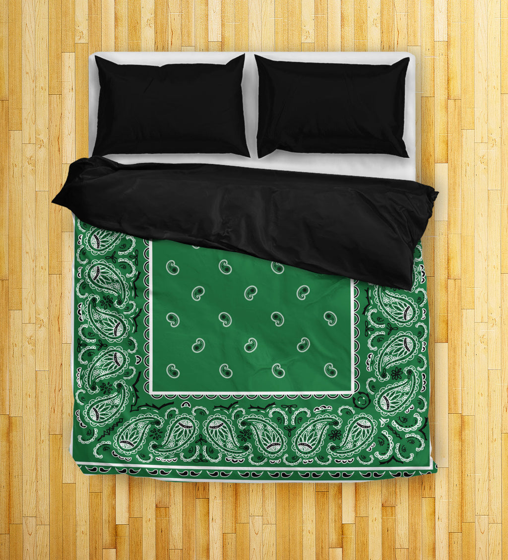 Green Bandana Duvet Cover Set