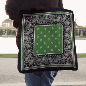 black with Green bandana tote bags