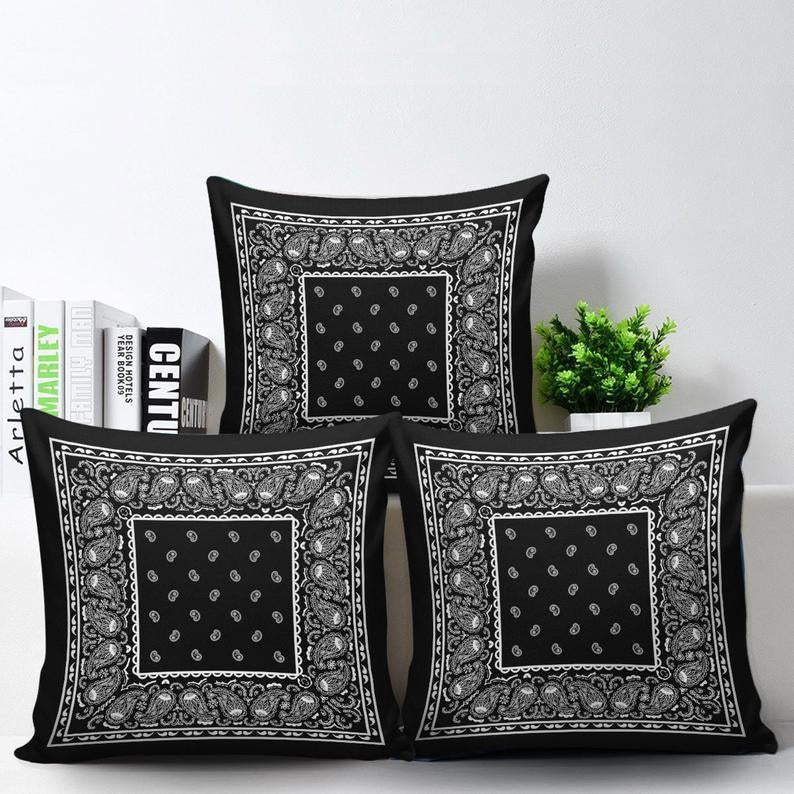 black bandana pillows