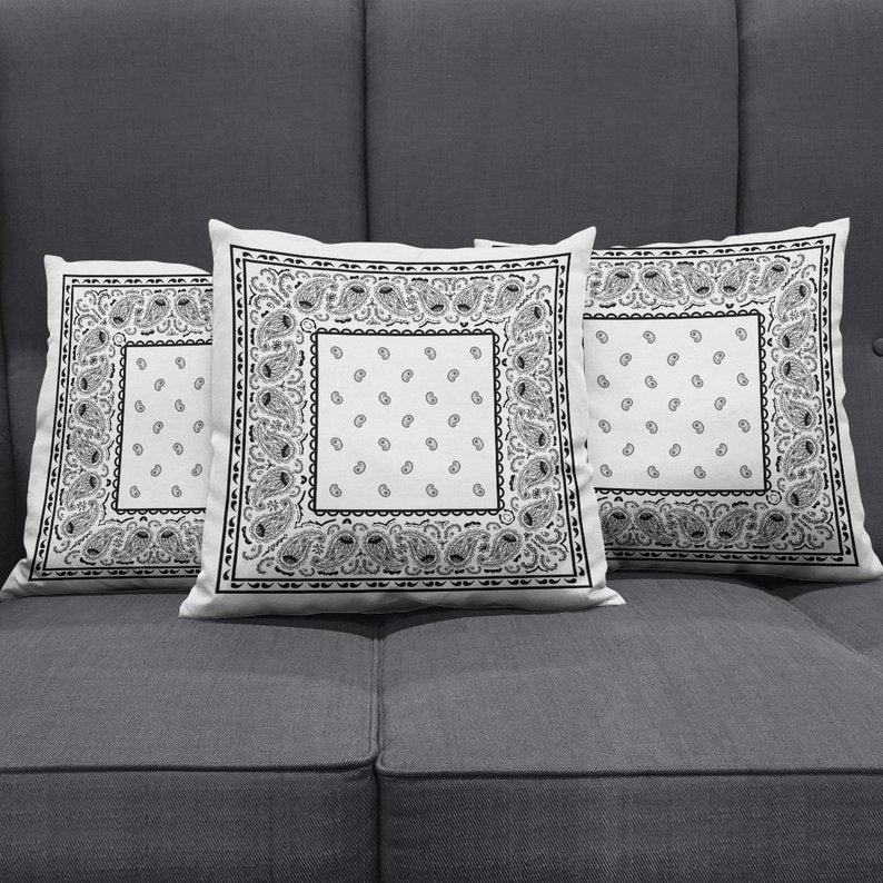white scatter pillows