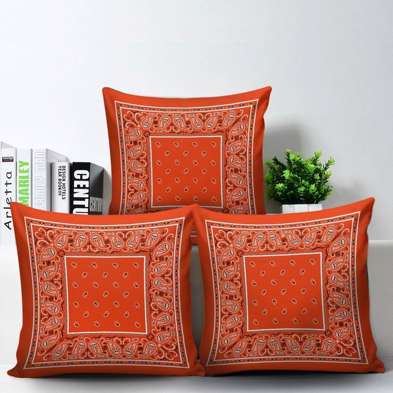 orange bandana scatter pillows