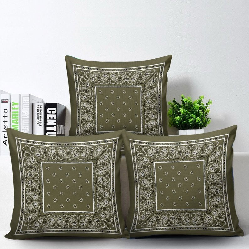 green bandana accent pillows