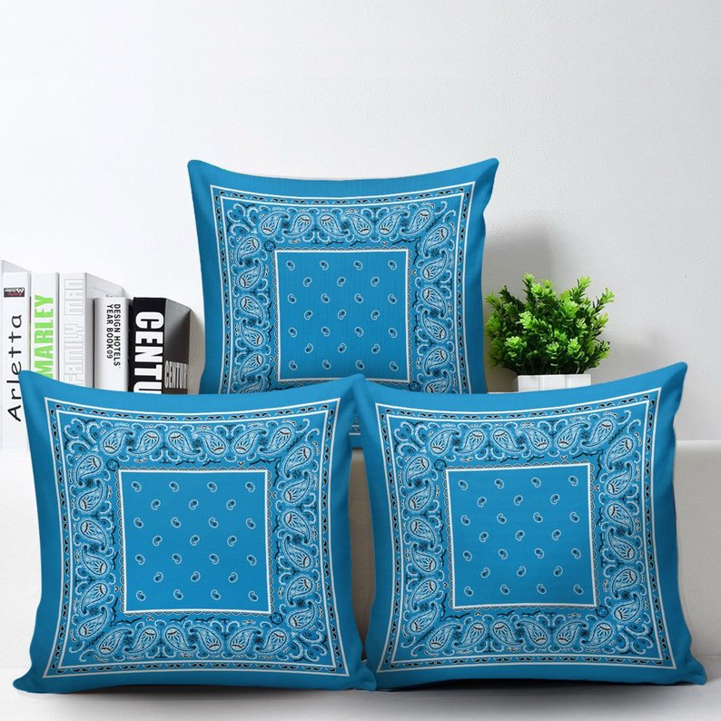 blue bandana accent pillows