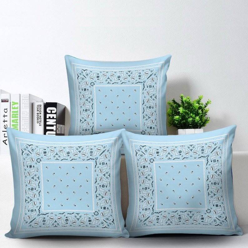Light Blue Bandana Throw Pillow Covers