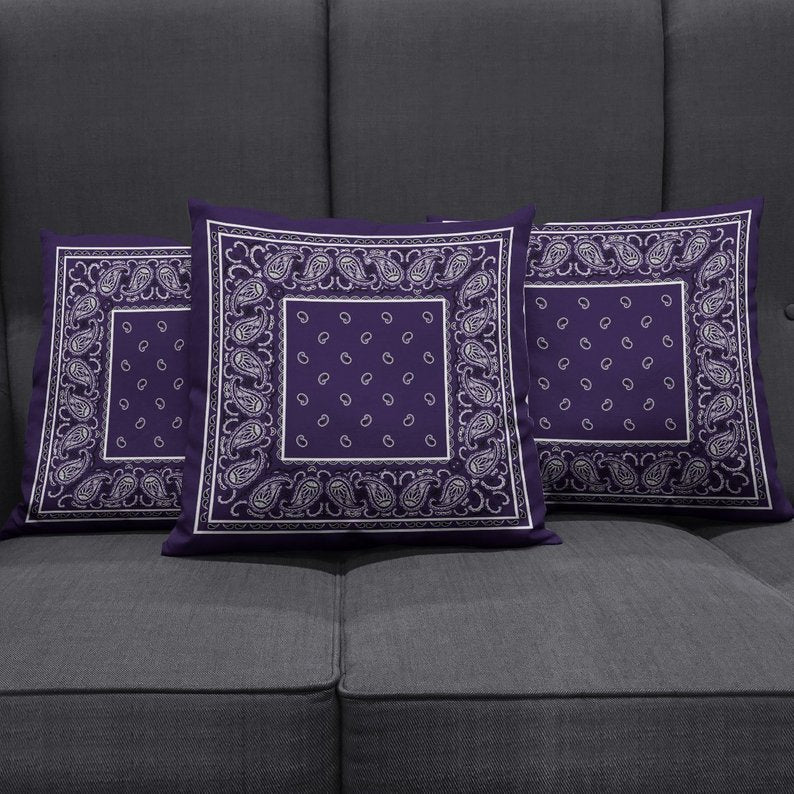 purple bandana throw pillows