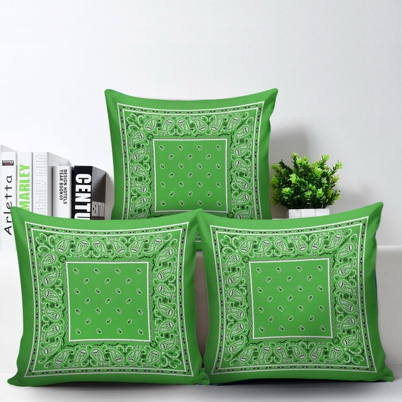 Lime Green Bandana Throw Pillow Covers