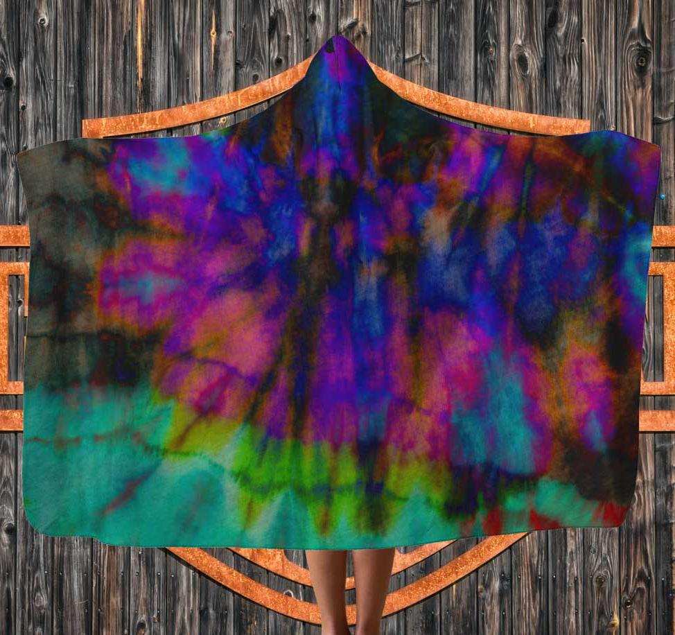 tie dye boho hooded blanket